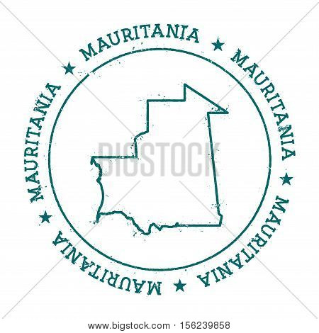 Mauritania Vector Map. Retro Vintage Insignia With Country Map. Distressed Visa Stamp With Mauritani