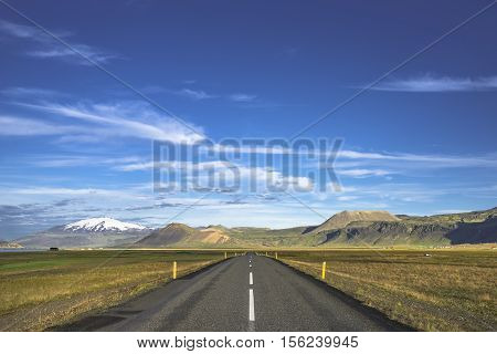 Isolated Road To Snaefellsjoekull Mountain At Iceland, Summer Time