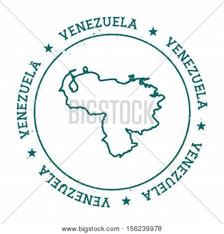 Venezuela, Bolivarian Republic Of Vector Map.. Retro Vintage Insignia With Country Map.. Distressed