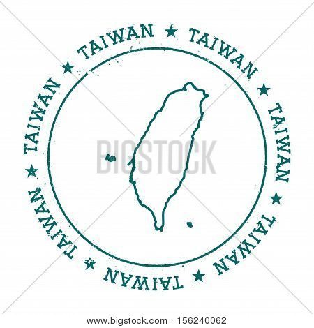 Taiwan, Republic Of China Vector Map.. Retro Vintage Insignia With Country Map.. Distressed Visa Sta