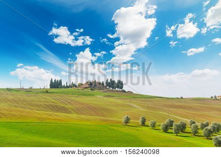 a colorful hill in Val d'Orcia Italy
