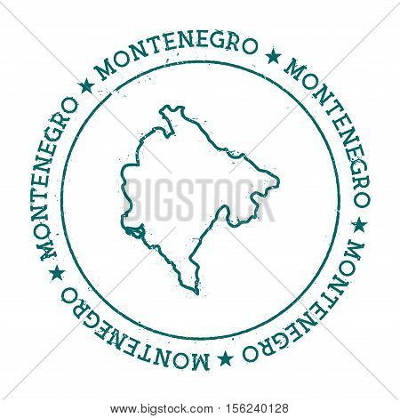Montenegro Vector Map. Retro Vintage Insignia With Country Map. Distressed Visa Stamp With Montenegr