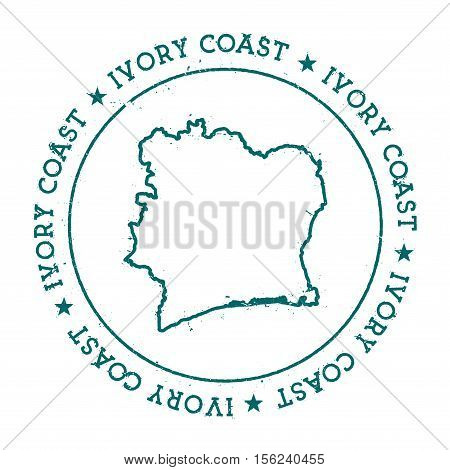 Cote D'ivoire Vector Map. Retro Vintage Insignia With Country Map. Distressed Visa Stamp With Cote D