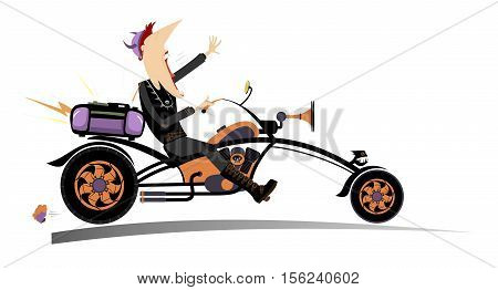 Biker man. Comic man riding a bike with stereo system and singing a song