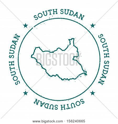 South Sudan Vector Map. Retro Vintage Insignia With Country Map. Distressed Visa Stamp With South Su