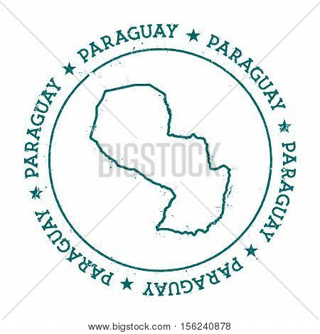 Paraguay Vector Map. Retro Vintage Insignia With Country Map. Distressed Visa Stamp With Paraguay Te