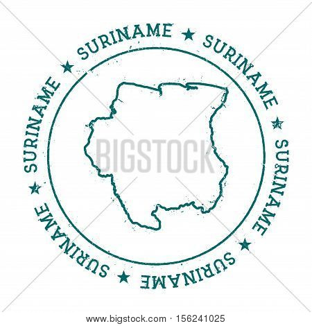 Suriname Vector Map. Retro Vintage Insignia With Country Map. Distressed Visa Stamp With Suriname Te