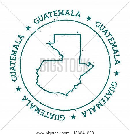 Guatemala Vector Map. Retro Vintage Insignia With Country Map. Distressed Visa Stamp With Guatemala
