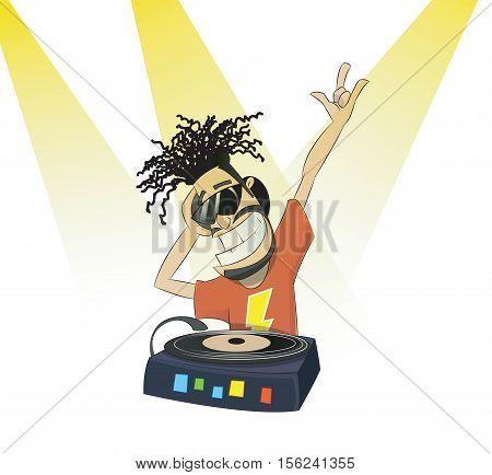 Nice cartoon DJ and his equipment making dance music. dj vector party.