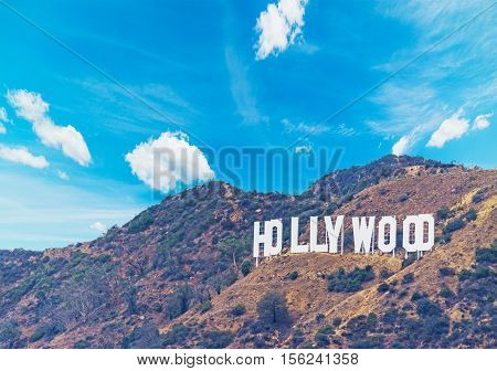 HOLLYWOOD, CALIFORNIA - OCTOBER 27, 2016: Hollywood sign under a blue sky with clouds California