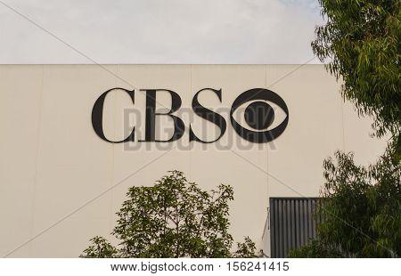 LOS ANGELES, CALIFORNIA - OCTOBER 27, 2016: CBS logo on a building in Los Angeles California