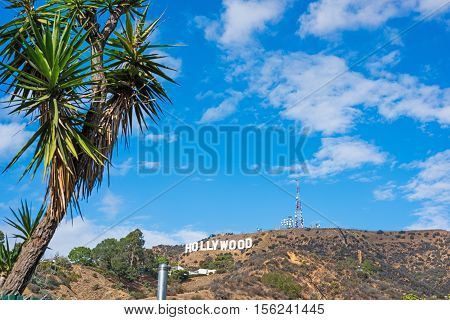 HOLLYWOOD, CALIFORNIA - OCTOBER 27, 2016: blue sky with clouds over Hollywood sign California