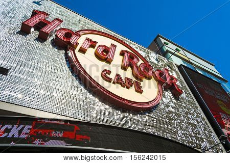 LOS ANGELES CALIFORNIA - NOVEMBER 02 2016: Hard Rock Cafe sign in Hollywood
