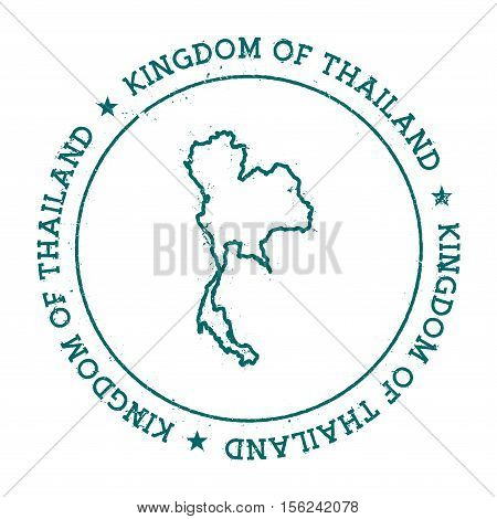 Thailand Vector Map. Retro Vintage Insignia With Country Map. Distressed Visa Stamp With Thailand Te