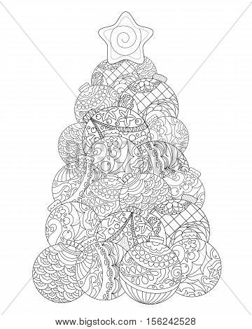 Christmas tree adult coloring page. Winter holiday vector illustration. Christmas or New Year coloring card. Vertical image for coloring. Fir tree adult coloring sheet. Firtree doodle ornament ball