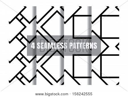 Simple geometric black and white seamless pattern minimalistic. Collection of 4 patterns