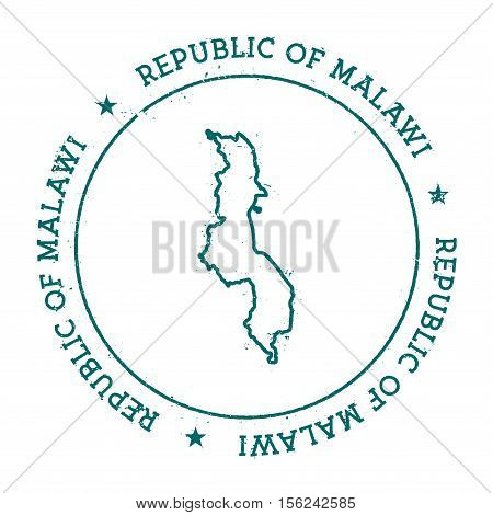 Malawi Vector Map. Retro Vintage Insignia With Country Map. Distressed Visa Stamp With Malawi Text W