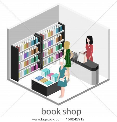 Isometric flat 3D interior of book shop. Vector illustration ibook store. People choose and buy books