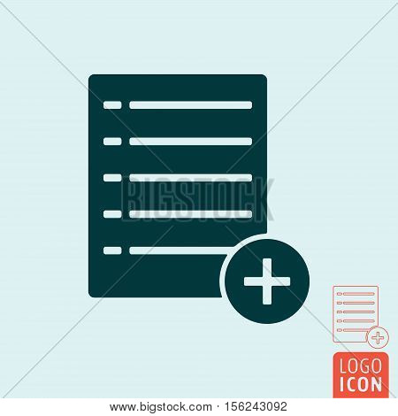 Add list icon. Wishlist, text or file add symbol. Vector illustration.