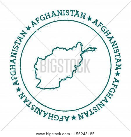 Afghanistan Vector Map. Retro Vintage Insignia With Country Map. Distressed Visa Stamp With Afghanis