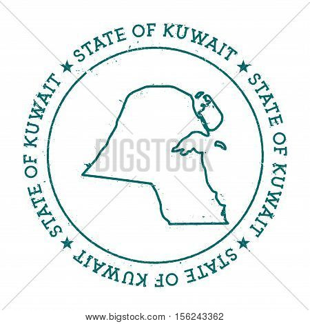 Kuwait Vector Map. Retro Vintage Insignia With Country Map. Distressed Visa Stamp With Kuwait Text W