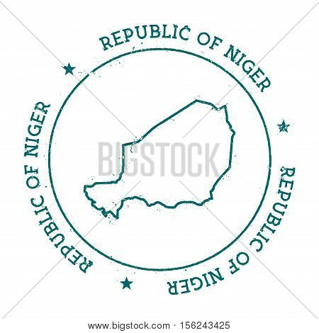 Niger Vector Map. Retro Vintage Insignia With Country Map. Distressed Visa Stamp With Niger Text Wra