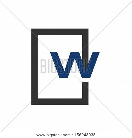 W letter in square logo design, w letter initial