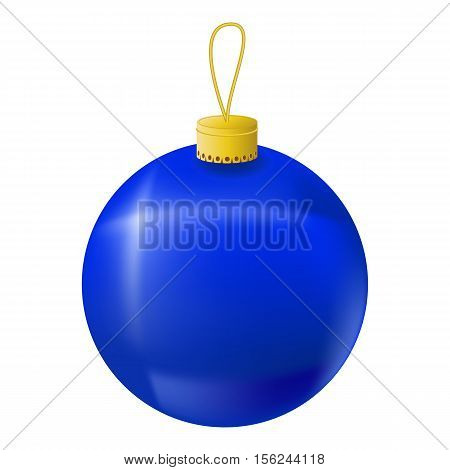 Blue Christmas tree ball realistic vector illustration. Christmas fir tree ornament isolated on white. Realistic fir tree ornament clipart. New Year decor. Navy Blue ornament for winter holiday design