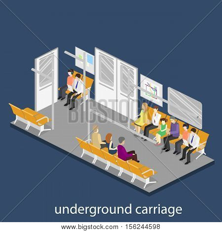 Isometric Flat 3D Concept Vector Interior Of Metro Subway Carriage.