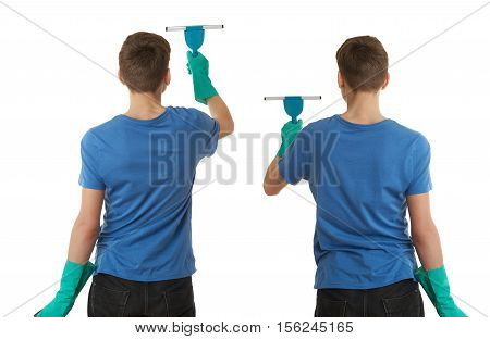 Set of cute teenager boy in blue T-shirt and green rubber gloves with window cleaning squeegee tool over white isolated background from back, half body, cleaning concept