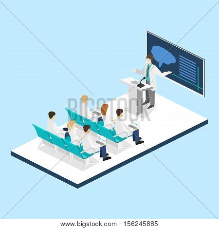 Isometric Flat 3D Concept Vector Of Conference Medical Doctor Clinic Research Training.