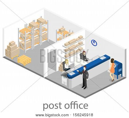 Isometric Flat 3D Interior Of Post Office.