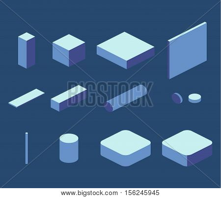 Isometric flat 3D concept vector simple elements cube square rectangle pipe. Objects to create isometric illustration
