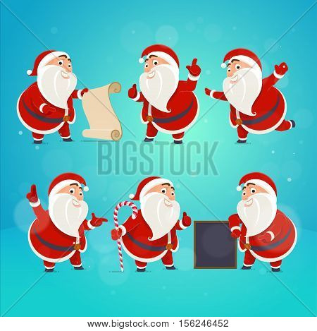 Set of Santa Claus pointing her finger. Thumb up class! Banner idea poster greeting card concept. Vector illustration in a flat style