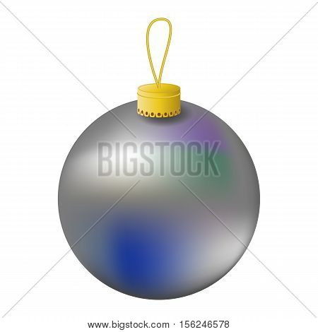 Silver Christmas tree ball realistic vector illustration. Christmas fir tree ornament isolated on white. Realistic fir tree ornament clipart. New Year decor. Silver ornament for winter holiday design