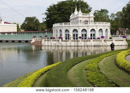 AYUTTHAYA, THAILAND - November 4, 2016: The Devaraj-Kunlai Gate is a semi-circle building used by the king to access the inner court at the Bang Pa-in Palace compound Thailand.