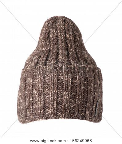 Knitted Hat Isolated On White Background .high Hat