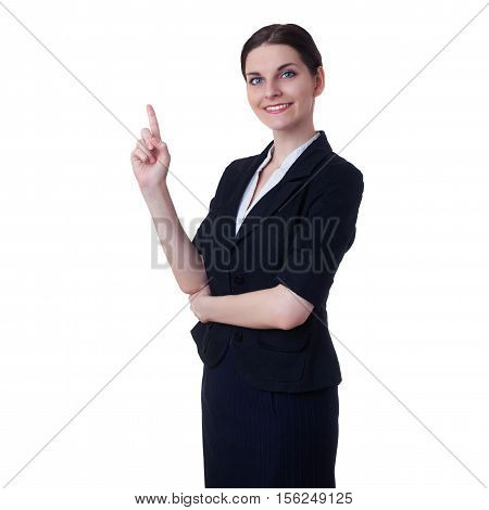 Smiling businesswoman standing and pointing over white isolated background, business, education, office concept