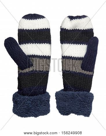 Mitten Isolated On White Background. Knitted Mittens. Mittens Top View.purple Mitten