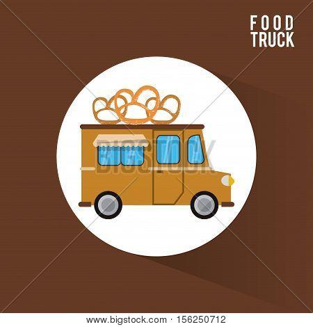 Pretzel food truck icon. Urban american culture menu and consume theme. Colorful design. Vector illustration