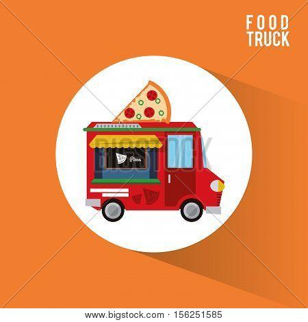 Pizza food truck icon. Urban american culture menu and consume theme. Colorful design. Vector illustration