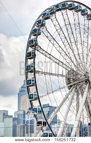 Ferris Wheel At Central Pier Overlooking Hong Kong Victoria Harbor