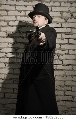 Victorian Style Man With Old Gun