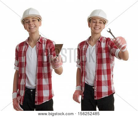 Set of cute teenager boy in red checkered shirt, building helmet and putty knife over white isolated background, half body, constructing concept