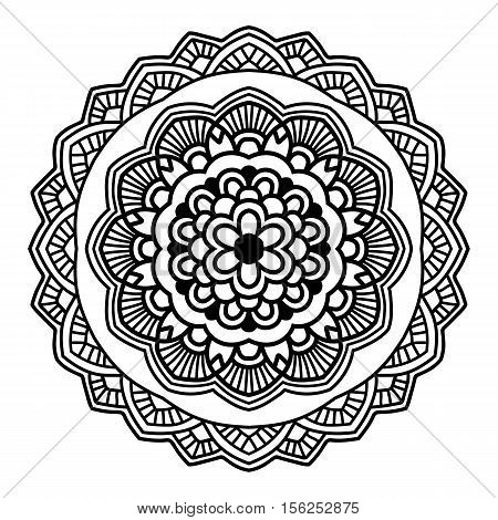 Simple black floral mandala on the white background. Orient motif