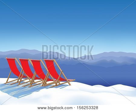 Four deck chairs in snow waiting for skiers. Winter vacations on winter resort