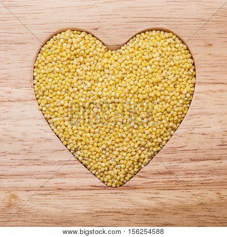 Millet Groats Heart Shaped