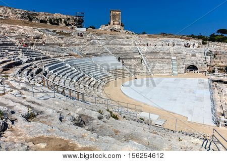 SYRACUSE ITALY - AUGUST 14 2016: Greek theater in Syracuse Sicily Italy one of the largest in the world dates back to 5th century BC.