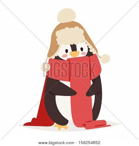 Penguin vector illustration character. Cartoon funny penguin cute character isolated. Penguin vector cute bird posing. Christmas holiday penguin