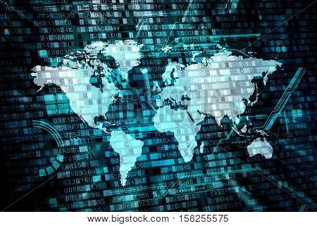 worldwide internet digital and data processing concept